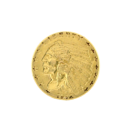 Rare 1912 $2.50 Indian Head Gold Coin Great Investment (DF)