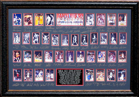 *Rare NBA 60 Greatest Museum Framed Collage - Plate Signed
