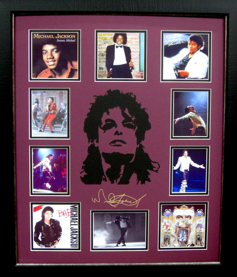 *Rare Michael Jackson Laser Cut Mat Museum Framed Collage  - Plate Signed