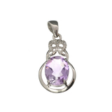 APP: 0.3k Fine Jewelry 2.18CT Purple Amethyst And White Sapphire Sterling Silver Pendant