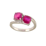 APP: 1.1k 1.75CT Cushion Cut Ruby and White Topaz Sterling Silver Ring - Luxurious Quality! -PNR-