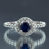 *Fine Jewelry 14KT.T White Gold, 0.64CT Round Brilliant Cut Blue Sapphire And 0.16CT Diamond Ring