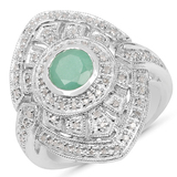 APP: 1.7k 0.75CT Round Cut Emerald and Diamond Sterling Silver Ring Lustrous Piece! -PNR-