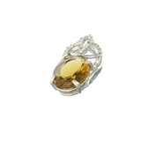 APP: 0.5k Fine Jewelry 2.00CT Oval Cut Citrine And White Sapphire Sterling Silver Pendant