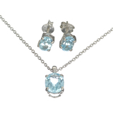 2.54CT Blue Topaz Sterling Silver Pendant With 18' Chain And 1.96CT Blue Topaz Solitaire Earrings