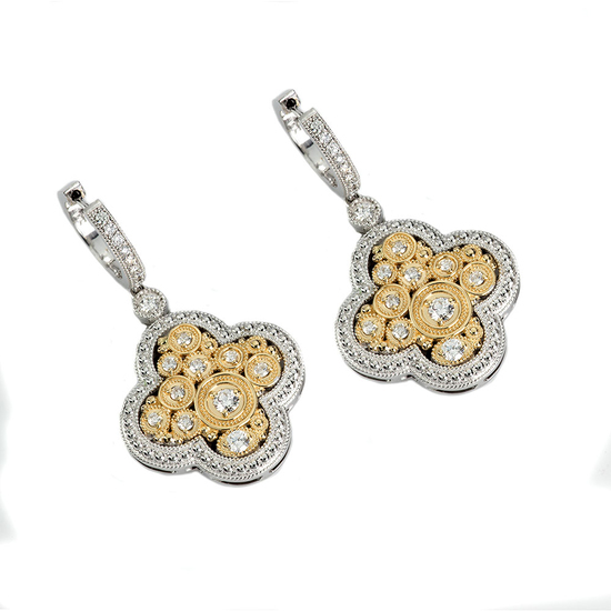 *Fine Jewelry 14KT. Two Tone Gold, .65CT Round Brilliant Cut Diamond Drop Earring (VGN A-64E)