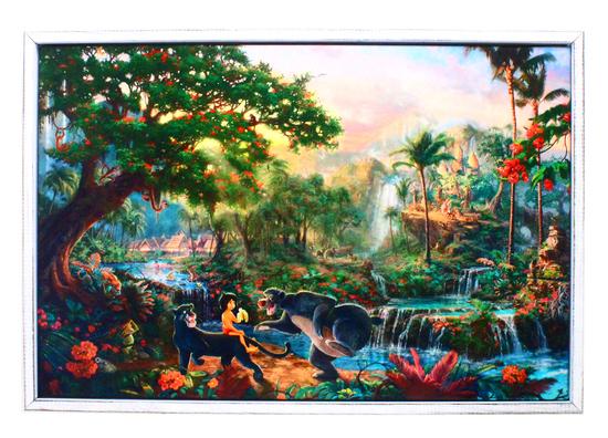 """Beautiful Thomas Kinkade """"Jungle Book"""" 01 on Canvas -PNR-"""