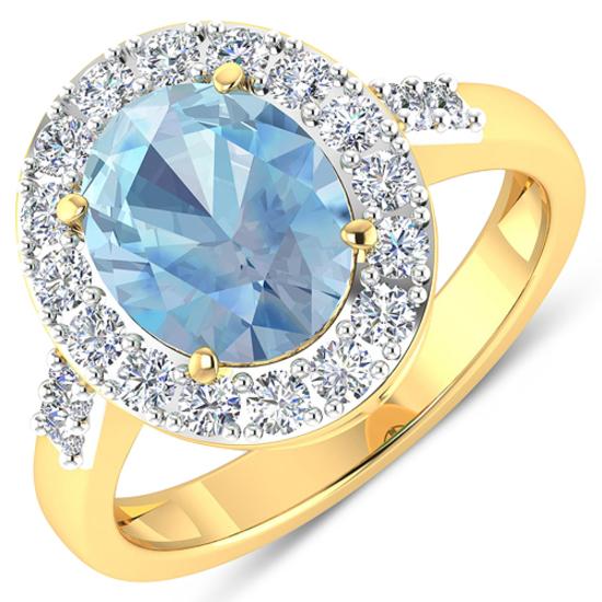APP: 9.9k Gorgeous 14K Yellow Gold 1.71CT Oval Cut Aquamarine and White Diamond Ring