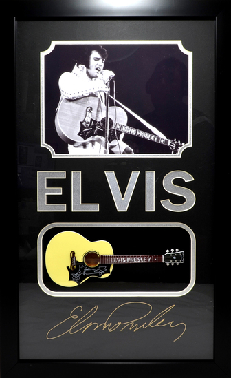 *Rare Elvis Presley with Mini Guitar Museum Framed Collage - Plate Signed