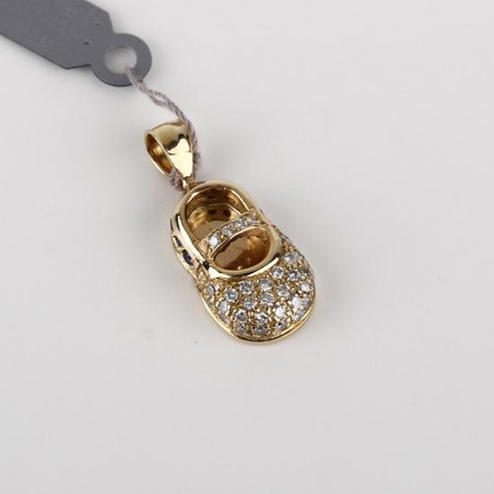 *Fine Jewelry 14KT. Gold, 0.40CT Diamond And 0.15CT Sapphire Pendant (FJ F314)