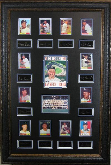 *Rare 1961 Yankees Vs. Reds World Series Museum Framed Collage - Plate Signed