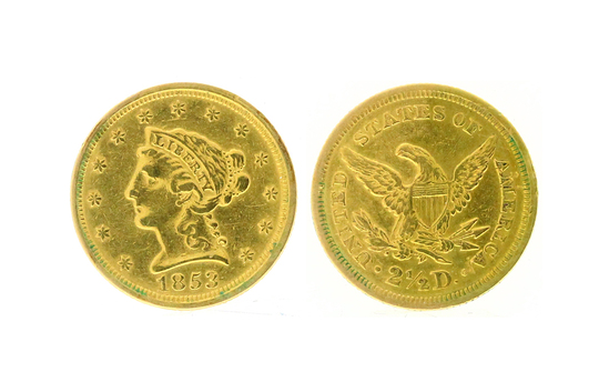 Rare 1853 $2.50 Liberty Head Gold Coin - Great Investment -