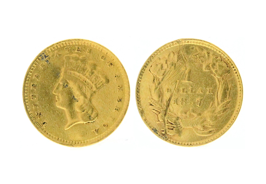Rare 1857 $1.00 Indian Head Gold Coin - Great Investment -