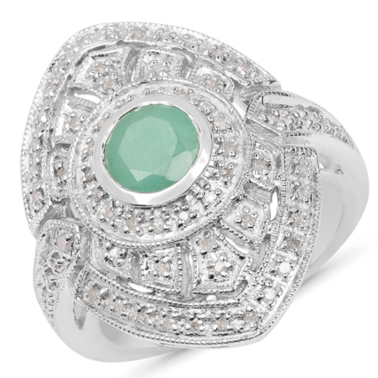 0.75CT Round Cut Emerald and Diamond Sterling Silver Ring - Great Investment - Lustrous Piece! -PNR-