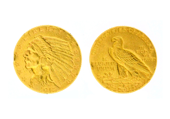 Rare 1912 $2.50 U.S Indian Head Gold Coin - Great Investment -