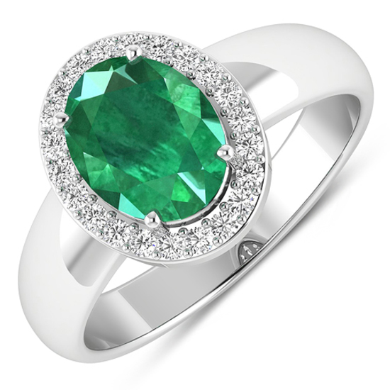 APP: 10k Gorgeous 14K White Gold 1.41CT Oval Cut Zambian Emerald and White Diamond Ring - Great Inve