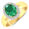APP: 9.6k Gorgeous 14K Yellow Gold 1.41CT Oval Cut Zambian Emerald and White Diamond Ring - Great In