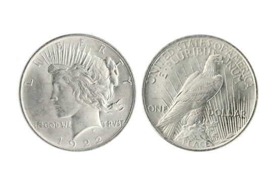 """Very Rare 1922 Brilliant Uncirculated """"Peace"""" Silver Dollar Coin -Great  Investment-"""""""