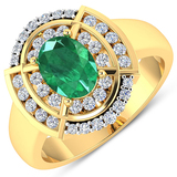 APP: 9.4k Gorgeous 14K Yellow Gold 0.96CT Oval Cut Zambian Emerald and White Diamond Ring - Great In