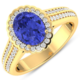 APP: 7.4k Gorgeous 14K Yellow Gold 1.31CT Oval Cut Tanzanite and White Diamond Ring - Great Investme