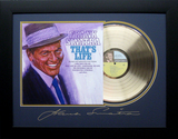 *Rare Frank Sinatra That's Life Album Cover and Gold Record Museum Framed Collage - Plate Signed