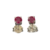 APP: 0.2k Fine Jewelry 0.70CT Round Cut Ruby And Sterling Silver Earrings