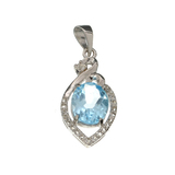 APP: 0.6k Fine Jewelry 3.30CT Blue Topaz And White Sapphire Sterling Silver Pendant
