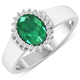APP: 7k Gorgeous 14K White Gold 0.96CT Oval Cut Zambian Emerald and White Diamond Ring - Great Inves