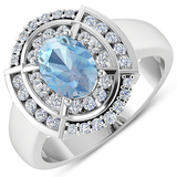APP: 7.3k Gorgeous 14K White Gold 0.91CT Oval Cut Aquamarine and White Diamond Ring - Great Investme