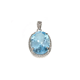 APP: 1.1k Fine Jewelry 14.30CT Blue Topaz And White Sapphire Sterling Silver Pendant