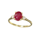 APP: 1k Fine Jewelry 14KT. Gold, 1.53CT Red Ruby And White Sapphire Ring