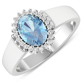 APP: 5.4k Gorgeous 14K White Gold 0.91CT Oval Cut Aquamarine and White Diamond Ring - Great Investme