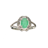 APP: 0.8k Fine Jewelry 0.96CT Oval Cut Green Emerald And Sterling Silver Ring
