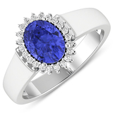APP: 5.6k Gorgeous 14K White Gold 1.06CT Oval Cut Tanzanite and White Diamond Ring - Great Investmen