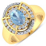 APP: 7.4k Gorgeous 14K Yellow Gold 0.91CT Oval Cut Aquamarine and White Diamond Ring - Great Investm