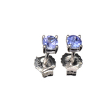 APP: 0.6k Fine Jewelry 0.50CT Round Cut Tanzanite And Platinum Over Sterling Silver Earrings