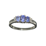 Fine Jewelry 1.20CT Violet Blue Tanzanite And Colorless Topaz Platinum Over Sterling Silver Ring