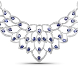 APP: 7.4k 30.60CT Pear Cut Sapphire and White Diamond Silver Necklace - Great Investment - Mesmerizi