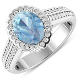 APP: 7.2k Gorgeous 14K White Gold 1.21CT Oval Cut Aquamarine and White Diamond Ring - Great Investme