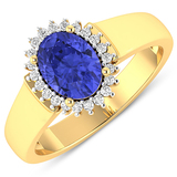 APP: 5.5k Gorgeous 14K Yellow Gold 1.06CT Oval Cut Tanzanite and White Diamond Ring - Great Investme