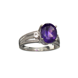APP: 0.4k Fine Jewelry 2.65CT Purple Amethyst And Cubic Zirconia Sterling Silver Ring