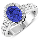 APP: 7.4k Gorgeous 14K White Gold 1.31CT Oval Cut Tanzanite and White Diamond Ring - Great Investmen