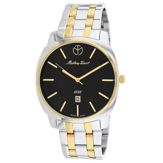 Mathey Tissot Men's Smart Round Stainless Steel Case Black Dial Sapphire Push/Pull Quartz Watch (Vau