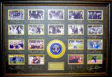 *Rare United States Presidential Ceremonial First Pitch Museum Framed Collage - Plate Signed