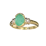 APP: 1k Fine Jewelry Designer Sebastian 14KT. Gold, 1.11CT Green Emerald And White Sapphire Ring