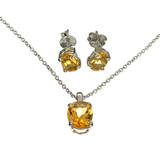 APP: 0.5k 1.68CT Oval Cut Citrine Quartz Sterling Silver Pendant With 18'''' Chain And 1.60CT Oval C