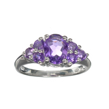 APP: 0.3k Fine Jewelry 1.80CT Oval Cut Amethyst And Sterling Silver Ring