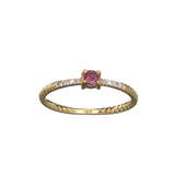 APP: 0.5k Fine Jewelry 14KT. Gold, 0.23CT Red Ruby And Diamond Ring