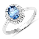 APP: 2.4k 10KT White Gold 1.00CT Blue Sapphire and White Diamond Ring -Great Investment- (Vault_Q) (