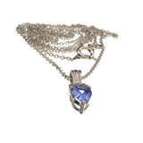 0.52CT Violet Blue Tanzanite And Colorless Topaz Platinum Over Sterling Silver Pendant W Chain